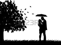 Background with couple with umbrella under the tree in autumn or fall silhouette, one in the series of similar images photo