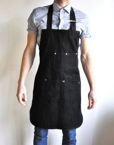 Utility Apron in Black Denim by Search & Rescue Denim Co.