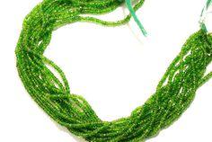 "1 Strand Natural Green Garnet Savorite Rondelle 3mm Faceted Beads 14"" Long"