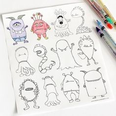 With Halloween almost here the kids will love this free printable monsters coloring page.