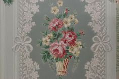 Vintage Wallpaper 1940's Baskets of Pink and by RosiesWallpaper, $18.00
