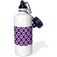3dRose Purple - Geometric Circle and Stars - Print 2, Sports Water Bottle, 21oz