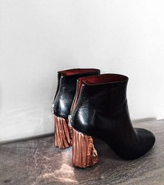 Copper heeled ankle boot