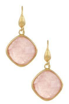 18K Gold Clad Diamond Shape Faceted Rose Quartz Dangle Earrings on HauteLook