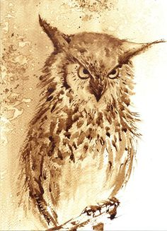 Sowa - watercolour painted with coffee - Maria Roszkowska Coffee Painting, Tea Art, Coffee Art, Watercolour Painting, Moose Art, Owl, Bird, Artist, Entertainment