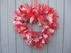 Valentines Day Wreath, Heart Ribbon Wreath II, Fabric Wreath, Rag Wreath, Valentines Day Door Wreath, Valentines Decoration. $65.00, via Etsy.