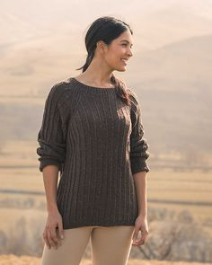 Textured ribbed sweater knitting pattern Ravenstone by Sarah Hatton knit in The Fibre Co. Arranmore Light