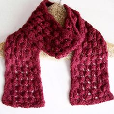 Berry Briar Knit Bobble Lace Scarf Pattern