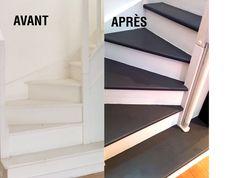 Rénovation d'un escalier avec Résinence Color. Coloris Blanc et Gris ardoise. #resinence #repeindreescalier #escalier #peinture #resine #renovation Staircase Design Modern, Modern Design, Grey Hallway, Carpet Staircase, Stairs, House Design, Bedroom, Interior, Corridor
