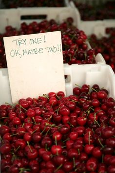 Handwritten sign invites you to try a bright red cherry or two, Ferry Plaza Farmers Market, San Francisco Fruit And Veg, Fruits And Vegetables, Fresh Fruit, Fresco, Cherries Jubilee, Fruit Stands, Farm Stand, Sweet Cherries, Harvest Time