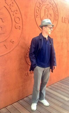 Ben arriving at the French Open mens final 8th June 2014 …… He's so adorable in his grandpa clothes.