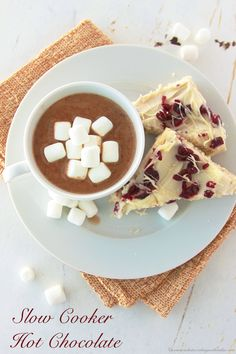 Slow Cooker Hot Chocolate and Cranberry Bliss Bars are the perfect winter combination! by www.whatscookingwithruthie.com #recipes #dessert #hotchocolate