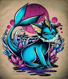 Vaporeon Tattoo Commission done for AshleyRomART for use by client only! commission info: --- drawn with: Paint Tool Sai. Pokemon Craft, All Pokemon, Cute Pokemon, Cool Pokemon Wallpapers, Deadpool Pikachu, Kawaii Tattoo, Pokemon Tattoo, Pokemon Eeveelutions, Desenho Tattoo