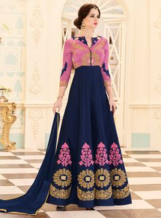 Navy Blue Georgette Ankle Length Anarkali Suit 114368