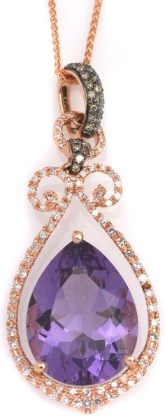 Purple Amethyst Pendant Necklace in Rose Gold Item #449-57316 8.00 ct Amethyst Pear & 0.52 ctw Champagne & White Diamond Round 14K Rose Gold Pendant Length 18