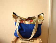 Floral Waxed Canvas Tote Bag. Large Purse. by blissjoybull, $68.00