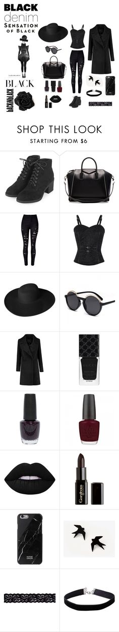 """black series"" by ivanavain on Polyvore featuring Topshop, Givenchy, Dorfman Pacific, Gucci, OPI, Lime Crime, Gorgeous Cosmetics, Native Union, Akira and Miss Selfridge"