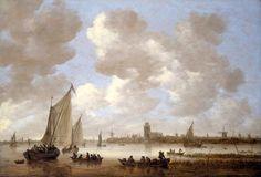 Jan van Gooyen; Gezicht van de Oude Maas bij Dordrecht ,1651