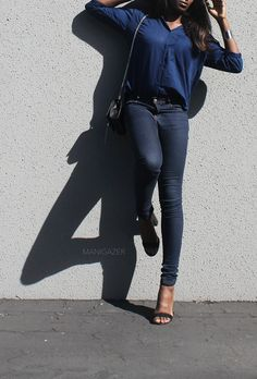 Minimal style & fashion | How to wear denim on denim while keeping it casual and chic. By Parisian and African blogger / model Iman. Click through to find out where I found these gorgeous pieces!  http://www.manigazer.com/blue-jeans-denim-shirt/