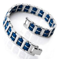 Amazon.com: JBlue men's Silver Stainless Steel Bangle Bracelet Chain Blue Rubber (with Gift Bag): Jewelry - $8