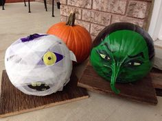My monster pumpkins from 2013. Again painted, but with acrylic paint and then sealed with a spray paint sealer. Used gauze for the mummy, so fun! And was a lot of fun looking for the right pumpkins to fit the characters I wanted to paint!