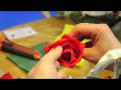 Red Crepe Paper Roses by Cartotecnica Rossi