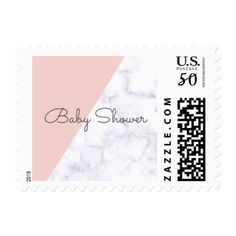 Elegant blush pink and white marble baby shower postage - simple clear clean design style unique diy