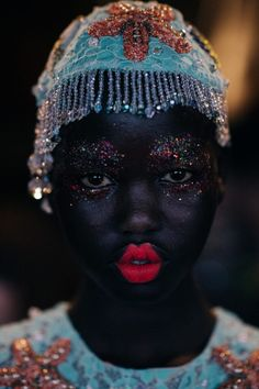 """stopdropandvogue: Adut Akech Bior backstage at. - stopdropandvogue: """" Adut Akech Bior backstage at Romance Was Born by """" Beauty Art, Beauty Makeup, Face Makeup, Hair Beauty, Pretty People, Beautiful People, Afro, Or Violet, Black Girl Aesthetic"""