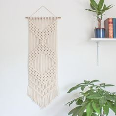 Macrame Wall Hanging > CHEVRONS > Ecru Recycled Cotton Cord with Bamboo
