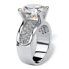 Shop for Platinum-plated Cubic Zirconia Engagement Ring - White. Get free delivery On EVERYTHING* Overstock - Your Online Jewelry Shop! Engagement Rings 4 Carat, Cubic Zirconia Engagement Rings, Classic Engagement Rings, Princess Cut Engagement Rings, Unusual Wedding Rings, White Sapphire, Beautiful Rings, Ring Designs, Fashion Rings