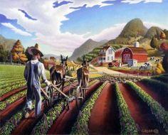oil painting: Folk Art Country Farm Original Landscape Cultivating Peas Americana American Walt Curlee on Etsy, $6,500.00