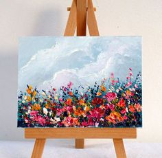 Flower field landscape original oil painting 3x4 inch. Gift