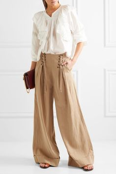Ulla Johnson - Gaucho Pleated Broadcloth Wide-leg Pants - Light brown - US2