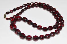 ART DECO Faceted Cherry Amber Bakelite Bead Necklace, 44 Grams, Brass Screw Clasp