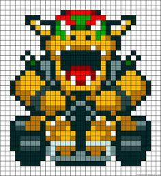 Mario Kart Bowser perler bead pattern