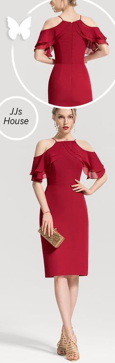 Sheath/Column Square Neckline Knee-Length Chiffon Cocktail Dress With Cascading Ruffles #JJsHouse #Cocktail dresses