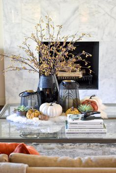 Warm and Cozy Coffee Table Styling for Fall Coffee Table Styling, Coffee Table Books, Thanksgiving Tree, Cozy Coffee, Black Vase, Velvet Pumpkins, Fall Table, Fall Home Decor, Autumn Theme