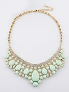 Green Drop Gemstone Gold Collar Necklace - Sheinside.com