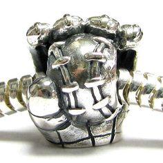 b257953fe78d Sterling Silver Baseball Ball Mitt Glove Bead for Pandora Troll Chamilia  Biagi European Charm Bracelets