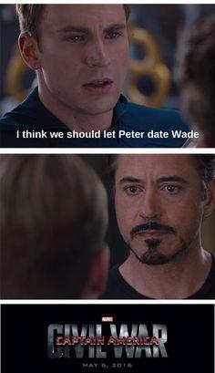 Spiderman iron man tony stark Captain America Deadpool Steve Rogers Wade Wilson peter parker Marvel SuperFamily SpideyPool civil war meme