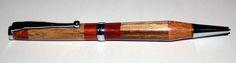 Streamline Pen, with Contour Grip, Chrome Plating, Cross Style Refill. Dressed in Six  Laminated Hardwoods. Amboyna  Burr, Oak,Padauk,Jatoba,Two Tone Padauk and Mahogany, £14:99. Laminated and Turned by Steve Bond.