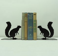 Two of my favorite things...squirrels and books!   Squirrel Bookends  Free USA Shipping by KnobCreekMetalArts on Etsy, $42.99