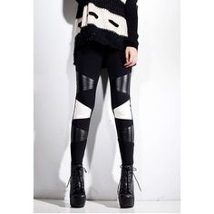 Special Color Matching PU Leather Splicing Skinny Women's Leggings