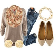 Casual Fall Outfits 2013. I really need some nude / tan flats!!
