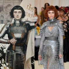 """""""The inspirations behind some of the looks: Lana Del Rey (Our Lady of Sorrows), Zendaya (Joan of Arc), Ariana Grande (The Last Judgment by Michelangelo) and Taylor Hill. Zendaya Met Gala, Estilo Zendaya, Fashion Idol, Look Fashion, Fashion Design, Joan Of Arc Costume, Joan D Arc, Jeanne D'arc, Fantasy Gowns"""