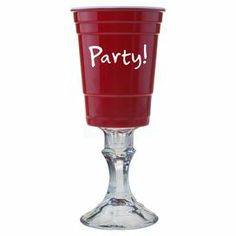 """Featuring a pedestal base with a party cup-inspired top, this whimsical goblet brings distinctive style to your collection of entertaining essentials.  Product: GobletConstruction Material: MelamineColor: RedFeatures: Typographic motifParty cup-inspired topDimensions: 9.75"""" H x 3.5"""" Diameter"""