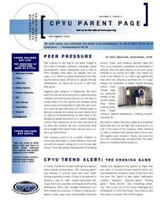 Center For Parent/Youth Understanding:  Check out the monthly Parent Page resource!