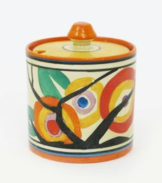 'Circle Tree' a Clarice Cliff Fantasque Bizarre Cylindrical preserve pot and cover