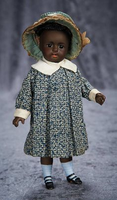 """""""Among Friends, The Billie and Paige Welker Collection"""": Lot # 123: Large German Brown-Complexioned All-Bisque Doll Attributed to Kestner"""