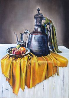 Discover great art by contemporary artist Hayrunnisa ŞAHİN. Browse artworks, buy original art or high end prints. Oil Pastel Paintings, Watercolor Paintings, Art Paintings, Still Life Drawing, Still Life Art, Drapery Drawing, Van Gogh Arte, Islamic Paintings, Painting Competition